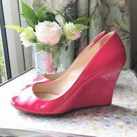 Jimmy Choo 'Baxen' Size 37 1/2 uk 4.5 pink patent peep toe wedges heels 800mm