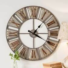 Fixer Upper Style Vintage Big Ben Wall Clock Distressed Grey Metal Industrial