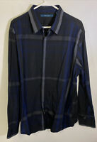 Perry Ellis Men's Long Sleeve Button Down Shirt Dark Blue XXL Cotton Clothes