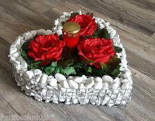 HERZ 35x35x6cm Pflanzenschale Grab Schmuck Grabgestaltung Korb Rosen Blumen