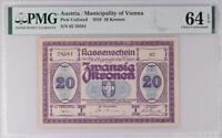 Austria 20 Kronen 1918 P UNLISTED CHOICE UNC PMG 64 EPQ
