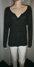 Hippie Rose Junior M (7-9) black & gray stripe ribbed knit pullover top, NWT