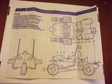 GI Joe Cobra Stun Vehicle Instructions blue print sheet prints