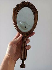 Miroir a main bois Art Nouveau fin 19eme
