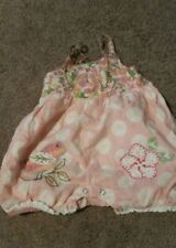 GIRL'S 6-9 MOS MIMI & MAGGIE Summer Embroidered Flower Floral BUBBLE ROMPER