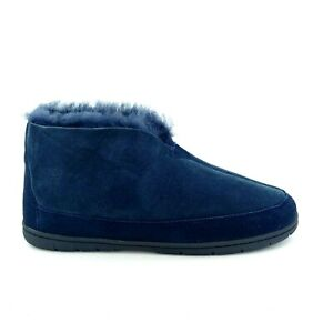 Lands End Mens 487499 Shearling Lined Slip On Bootie Slipper Navy Suede 9M NEW