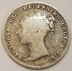 1854 Young Head Victoria Three Pence Silver Coin