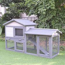 PawHut Raised Painted Wooden Backyard Chicken Coop Rabbit Hutch Enclosure Cage