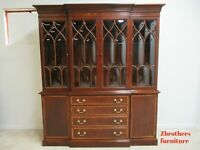 Ethan Allen 18th Century Mahogany Bubble Glass Breakfront China Cabinet Hutch