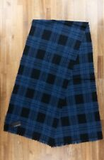 Z ZEGNA blue black plaid wool cashmere mix scarf authentic - NWT