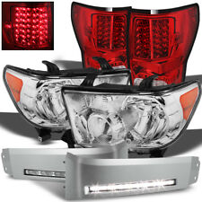 For 07-13 Tundra Headlights + DRL LED Kit + Red / Clear Color  LED Tail