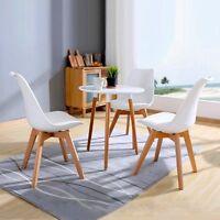 Lot de 4 Chaises de Salle à Manger Rétro Style Pieds en Bois Salon Café Blanche