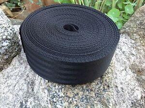 50mm Webbing Tape (2 inch) Nylon Black Herringbone weave straps strapping
