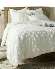 New Anthropologie White Ruched Hampshire Duvet Cover- King