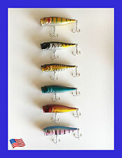 USA Lot of 6 New Fishing Lures Top water Popper, Crankbait