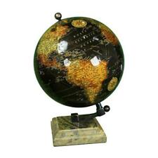 "GLOBE WITH MARBLE BASE 10.25"" H ~ VINTAGE GLOBE ~ GLOBE WITH BRASS STAND ~ MAPS"