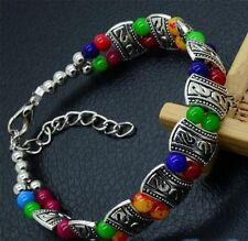 Silver tone Multicolour Jade Turquoise adjustable bead bracelet summer jewellery