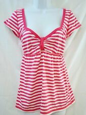 Holliser Pink White Stripe SS Casual Knit Shirt Size Large L