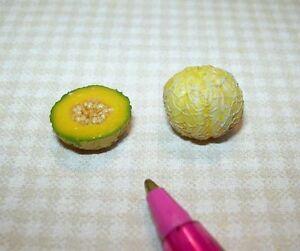 Miniature FALCON Cantaloupe Melon, Whole and Half DOLLHOUSE Miniatures 1:12