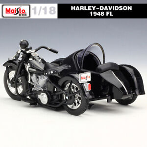 Vintage 1/18 1948 Harley Davidson FL Diecast Model Motorcycle Toy for Collection