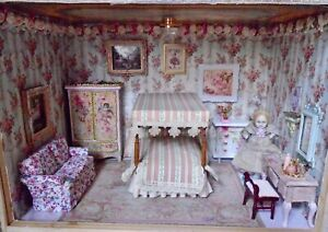 Pink Themed Bedroom Room Box Diorama Fully Furnished With Antique Bisque Doll