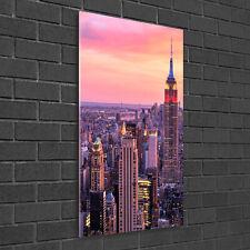 Wandbild Kunst-Druck auf Hart-Glas senkrecht 50x100 New York