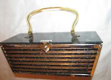 vintage pin up  art deco glitter velvet cutout filigree metal lucite lid box bag