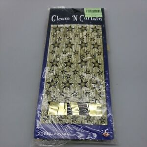 3 by 8 Feet 1-Ply FR Gleam 'N Curtain black gold New years party vintage USA