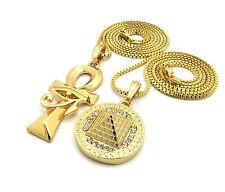 Egyptian Eye of Heru ANKH Cross & Pyramid Pendant &Box Chain Necklace Set N0033G