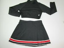 "Varsity Youth L Cheerleader Uniform Outfit Black Crop Top 32"" Pleated Skirt 26"""