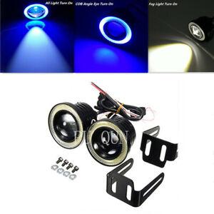 "2x Car Fog Light Running Lamps Blue/White COB Halo 3"" Angel Eye Ring Hawkeye"