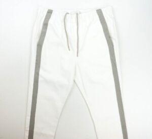 NEW J BRAND WHITE GRAY STRIPE COTTON CANDORE JOGGER PANTS SIZE L