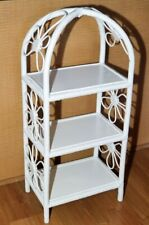 "Vintage White Wicker 33"" Display Shelf"