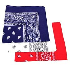 Pack Of 3 Paisley Design Bandanas Navy Blue Red And White BEST DEAL