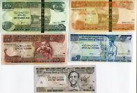 Ethiopia Set 5 Pcs 1 5 10 50 100 Birr Random Year P 46 47 48 51 52 Unc