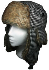 Houndstooth Trapper Hat Ushanka Ladies Russian Hat Black & White Medium/Large