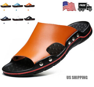 Mens Summer Soft Leather Casual Sandals Beach Shoes Anti-slip Flat Slippers