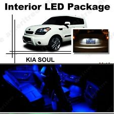 For Kia Soul 2011-2013 Blue LED Interior Kit + Xenon White License Light LED