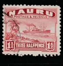 Nauru 1 1/2d Scarlet freighter (White) Sg 28B Vfu