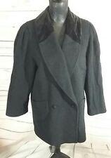 St Michael Womens Coat UK 12 Petite DK Grey Velvet Collar Wool