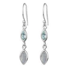 925 Sterling Silver Rainbow moonstone, Blue Topaz gemstone earrings jewelry 2.16