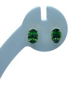 Green Tourmaline 9K Gold Stud Earrings tgw 0.86cts