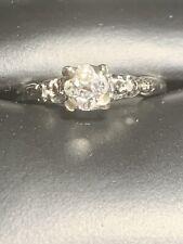 14K White Gold & Diamond Engagement Ring SZ 5.5 1.5g