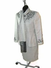 JOHN MEYER womens Classic HOUNDSTOOTH Suit w/ Scarf Skirt size 6  Jacket Size 8