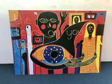 More details for outsider art brut signed art print, 'the tears on your lips', unusual wall art