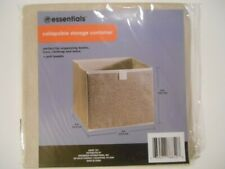 Essentials Tan Collapsible Storage Bin Container with Handle, 9x9x8 in.