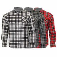 Mens Checked Tartan Shirts Brave Soul Flannel Long Sleeved Collared Fashion New