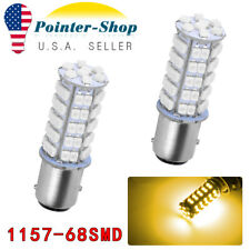 2 X Amber 1157 68-SMD BAY15D Tail Stop Brake Light LED Bulbs 7528 2357 2057 12V