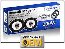 Renault Megane 3 Rear Door speakers Alpine car speaker kit with Adapter Rings