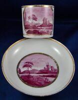 Antique English Porcelain Puce Scenic Cup & Saucer Porzellan Tasse Scene England